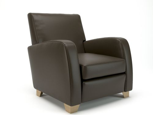 Wynne 81cm Wide Armchair Mocha Faux Leather Light Wood Feet