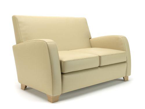 Wynne 132cm Wide Sofa Cream Faux Leather Light Wood Feet