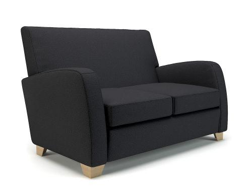 Wynne 132cm Wide Sofa Ebony Fabric Light Wood Feet