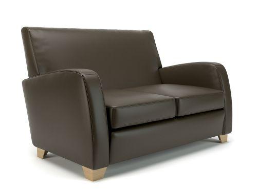 Wynne 132cm Wide Sofa Mocha Faux Leather Light Wood Feet