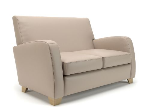 Wynne 132cm Wide Sofa Taupe Faux Leather Light Wood Feet