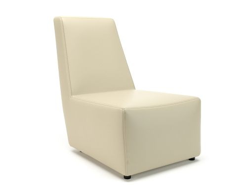 Pella 65cm Wide Chair Chalk Faux Leather Standard Feet