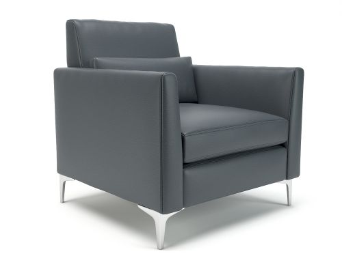 Roselle 90cm Wide Armchair Atlantic Faux Leather Chrome Feet