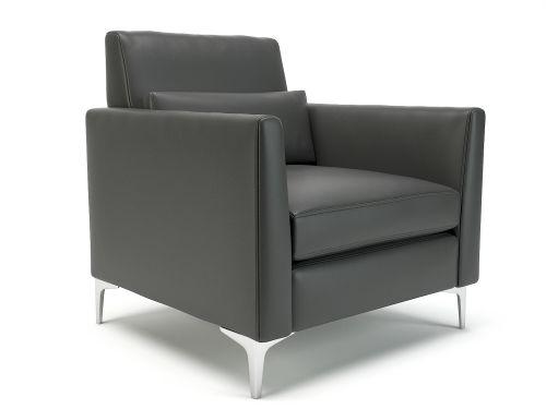 Roselle 90cm Wide Armchair Flint Faux Leather Chrome Feet