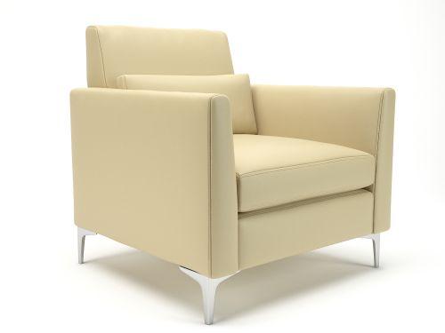 Roselle 90cm Wide Armchair Cream Faux Leather Chrome Feet