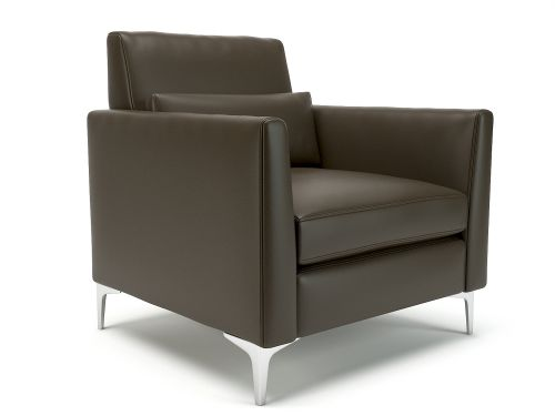 Roselle 90cm Wide Armchair Mocha Faux Leather Chrome Feet