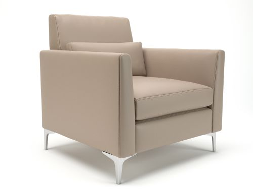 Roselle 90cm Wide Armchair Taupe Faux Leather Chrome Feet