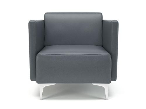 Napa Slim Arm 75cm Wide Armchair Atlantic Faux Leather Chrome Feet