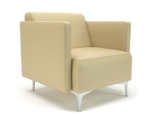 Napa Slim Arm 75cm Wide Armchair Cream Faux Leather Chrome Feet