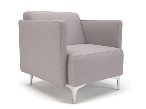 Napa Slim Arm 75cm Wide Armchair Linen Fabric Chrome Feet