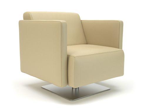 Napa Slim Arm 75cm Wide Swivel Armchair Cream Faux Leather
