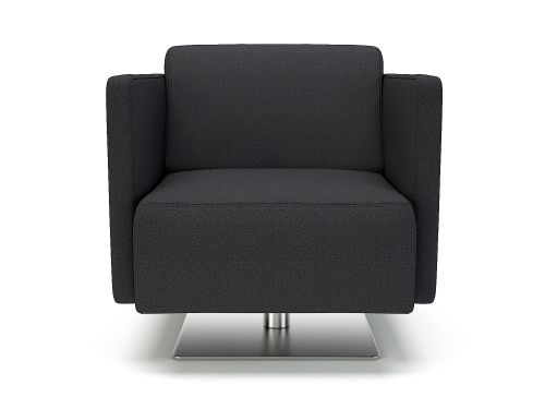 Napa Slim Arm 75cm Wide Swivel Armchair Ebony Fabric
