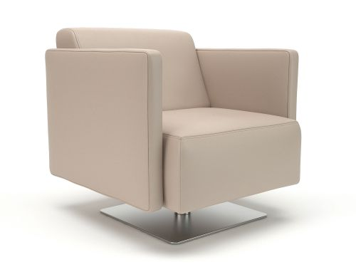 Napa Slim Arm 75cm Wide Swivel Armchair Taupe Faux Leather