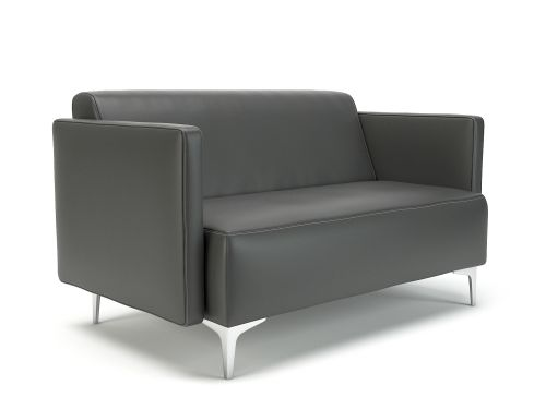 Napa Slim Arm 125cm Wide Sofa Flint Faux Leather Chrome Feet