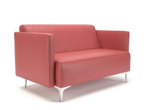 Napa Slim Arm 125cm Wide Sofa Chilli Faux Leather Chrome Feet
