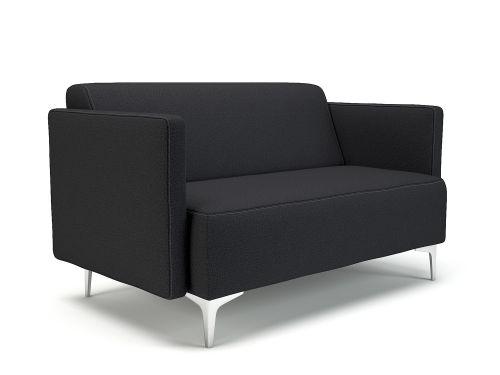 Napa Slim Arm 125cm Wide Sofa Ebony Fabric Chrome Feet