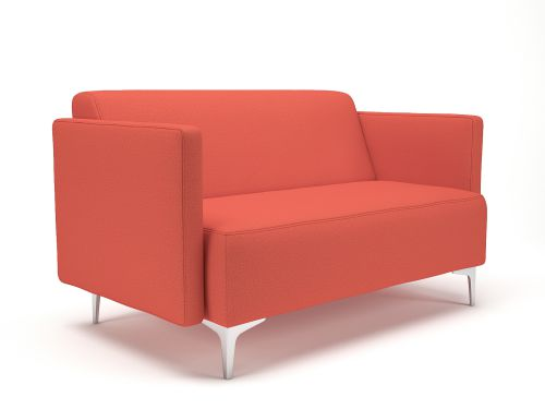Napa Slim Arm 125cm Wide Sofa Marmalade Fabric Chrome Feet