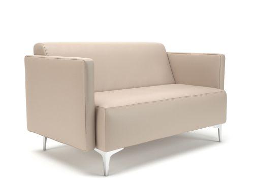 Napa Slim Arm 125cm Wide Sofa Taupe Faux Leather Chrome Feet