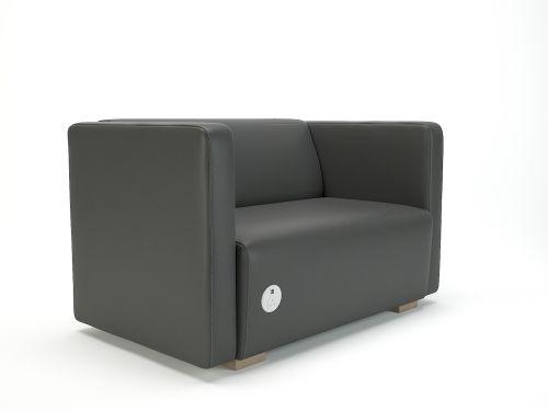 Carmel 130cm Wide Sofa Flint Faux Leather Light Wood Feet With Socket