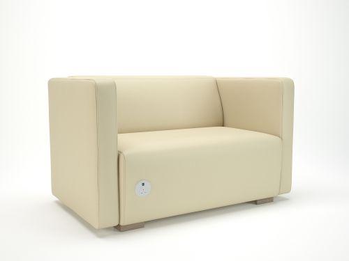 Carmel 130cm Wide Sofa Chalk Faux Leather Light Wood Feet With Socket