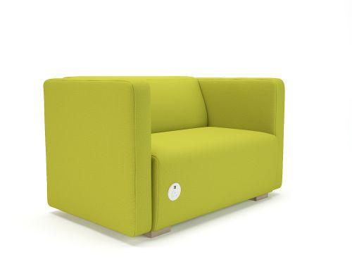 Carmel 130cm Wide Sofa Citron Fabric Light Wood Feet With Socket