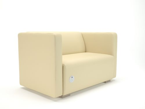 Carmel 130cm Wide Sofa Cream Faux Leather Light Wood Feet With Socket