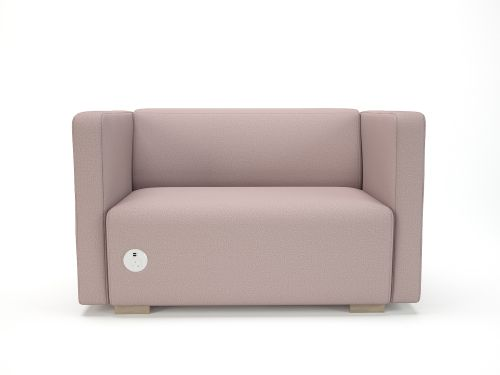 Carmel 130cm Wide Sofa Flint Fabric Light Wood Feet With Socket