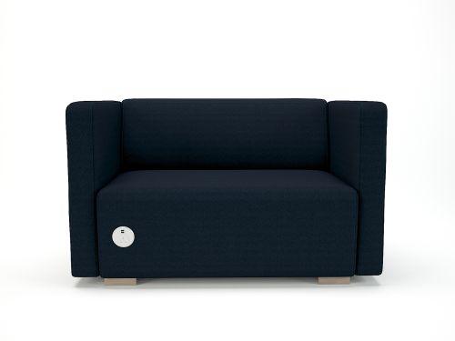 Carmel 130cm Wide Sofa Forward Fabric Light Wood Feet With Socket