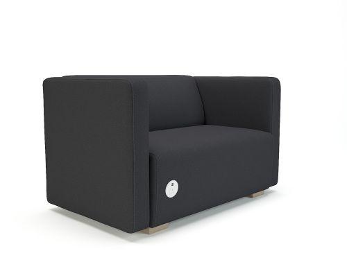 Carmel 130cm Wide Sofa Ebony Fabric Chrome Feet With Socket