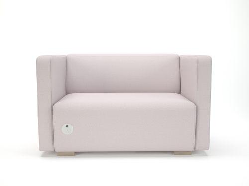 Carmel 130cm Wide Sofa Linen Fabric Light Wood Feet With Socket