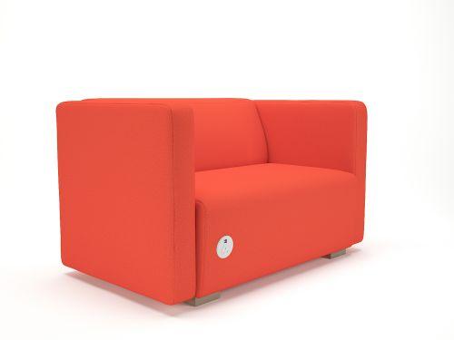 Carmel 130cm Wide Sofa Marmalade Fabric Light Wood Feet With Socket