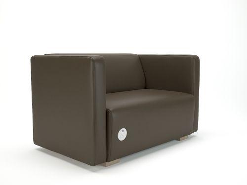 Carmel 130cm Wide Sofa Mocha Faux Leather Light Wood Feet With Socket