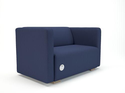 Carmel 130cm Wide Sofa Poppy Fabric Light Wood Feet With Socket