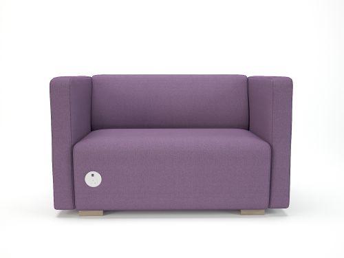 Carmel 130cm Wide Sofa Prime Fabric Light Wood Feet With Socket