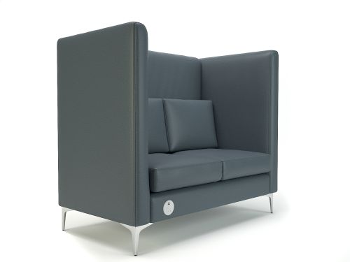 Altus 128cm Wide Privacy Booth Atlantic Faux Leather Chrome Feet With Socket