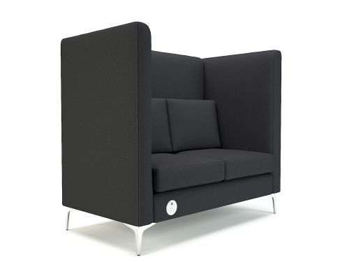 Altus 128cm Wide Privacy Booth Ebony Fabric Chrome Feet With Socket