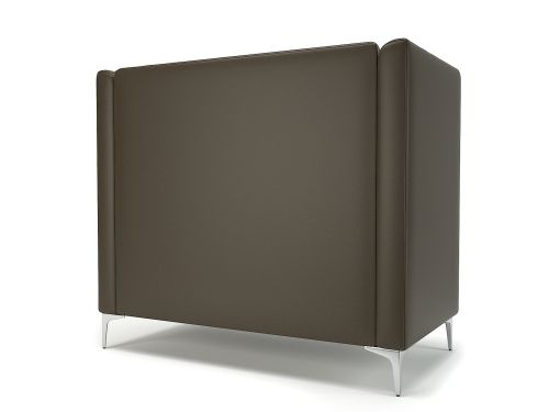 Altus 128cm Wide Privacy Booth Mocha Faux Leather Chrome Feet With Socket