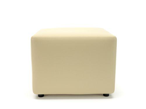 Crofton 62cm Square Cream Faux Leather Standard Feet