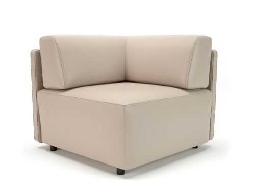 Loomis 87cm Wide Corner Unit Taupe Faux Leather Standard Feet