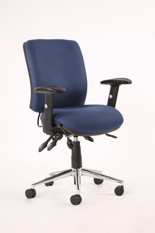 Chiro Medium Back Chair with Arms Blue OP000011