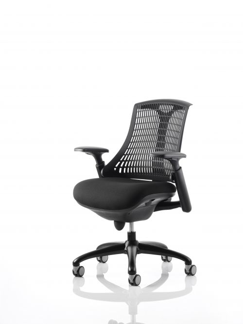 Flex Task Operator Chair Black Frame With Black Fabric Seat Black Back With Arms