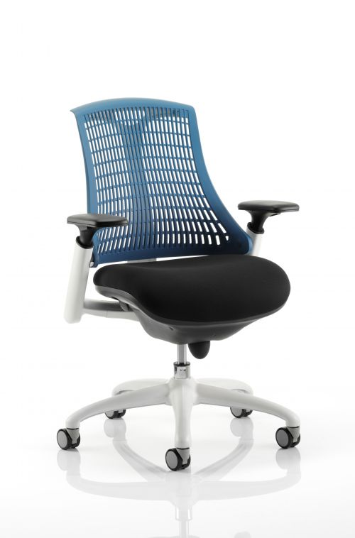 Flex Task Operator Chair White Frame Fabric Seat Blue Back With Arms OP000058