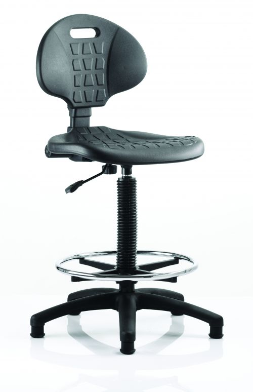 Malaga Hi Rise Draughtsman Task Operator Chair Black Polyurethane Seat And Back Without Arms