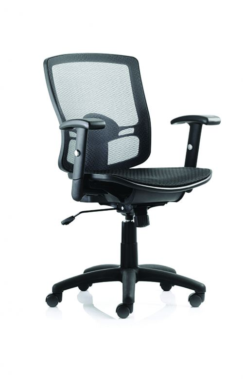 Palma Chair Black Mesh Back Black With Arms OP000104