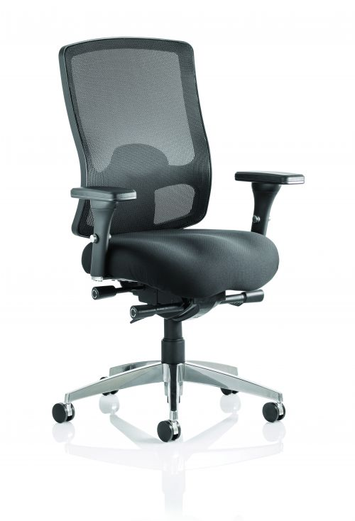 Regent Chair Black Fabric Black Mesh Back With Arms OP000113