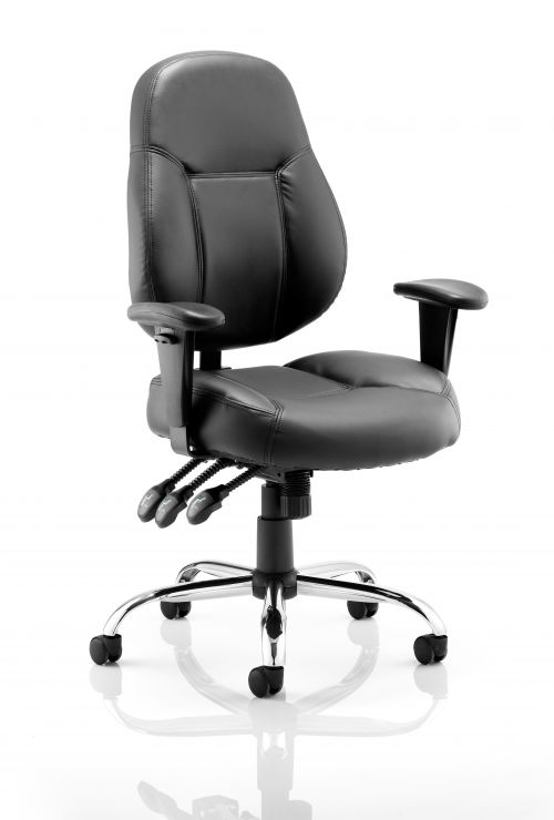 Storm Chair Black Soft Bonded Leather With Arms OP000129