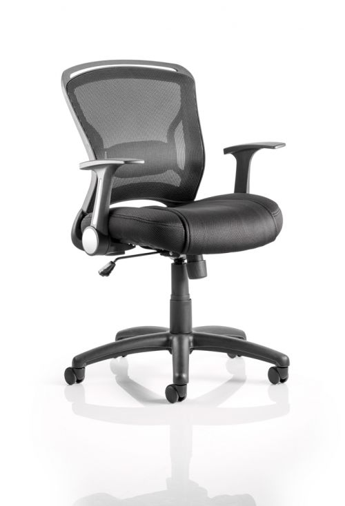 Zeus Task Operator Chair Black Fabric Black Mesh Back With Arms