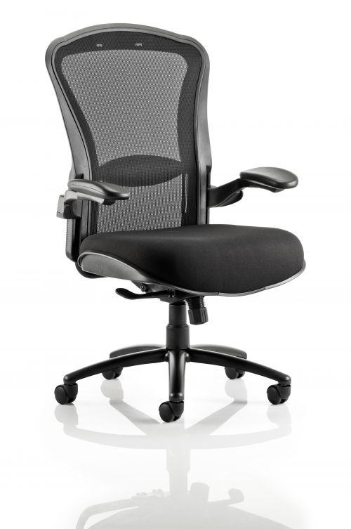 Houston Chair Mesh Back Black Fabric Seat With Arms OP000181