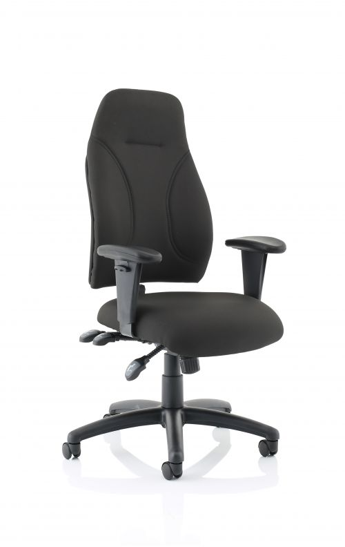 Esme Black Fabric Posture Chair With Height Adjustable Arms OP000232