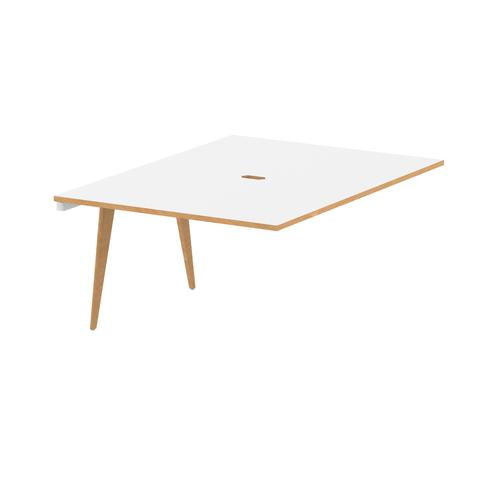 Oslo B2B Ext Kit White Frame Wooden Leg Bench Desk 1200 White With Natural Wood Edge